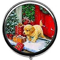 LinJxLee Merry Christmas Dog Gift Round Pill Case Pill Box Tablet Vitamin Organizer Easy to Carry preisvergleich bei billige-tabletten.eu