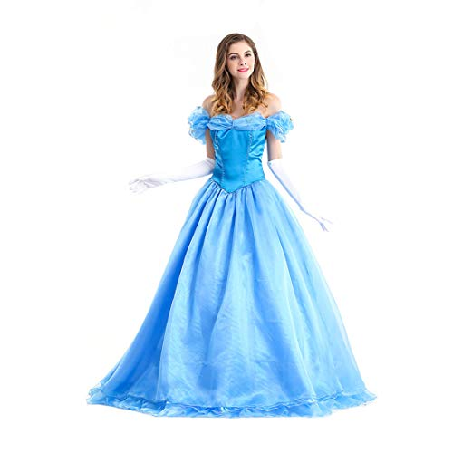 Damen Kostüm Princess - HOOLAZA Light Blue Damen Rollenspiel Cinderella Costume Classic Princess Abendkleid Kleid