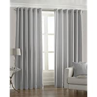 "Riva Paoletti Fiji Ringtop Eyelet Curtains (Pair) - Steel Silver - Faux Silk - Ready Made - Semi Sheer - 100% Polyester - 229cm width x 229cm drop (90"" x 90"" inches) - Designed in the UK"