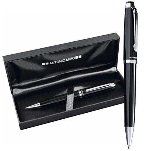 Preisvergleich Produktbild ANTONIO MIRO Klassische Metallische Kugelschreiber mit Jumbo-Patronen - Etui mit gedrucktem Logo - ideal als Geschenk - Zufriedenheit garantiert!