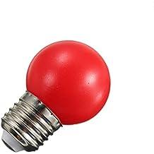 220v E27 1W LED Bombilla Lámpara Globo Ahorro de Energía Pelota de Golf Partido Fiesta - Rojo