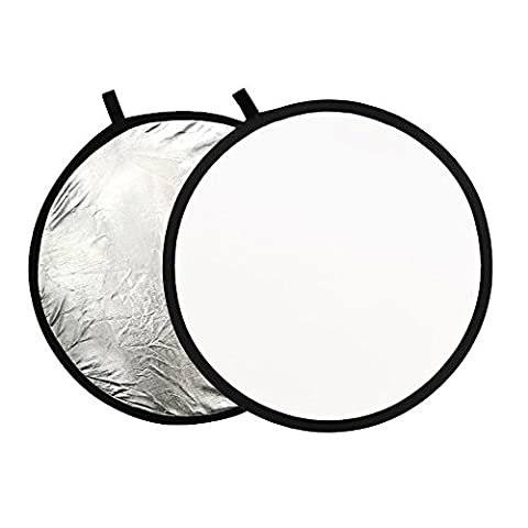 Phot-R 80 cm Professional 2-in-1 Collapsible Professional Photography Portable Photo Studio Circular Light Reflector Panels - Silver & White Diffuser + Carry Case