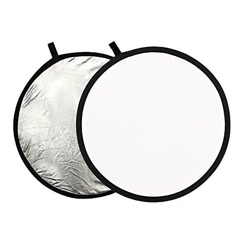 Phot-R P-SW80 80 cm (32 Zoll) Pro 2-in-1 Klapp-Professional Photography Mobile Fotostudio Circular Licht-Reflektor Panels Diffuser mit Tragetasche Silber/weiß