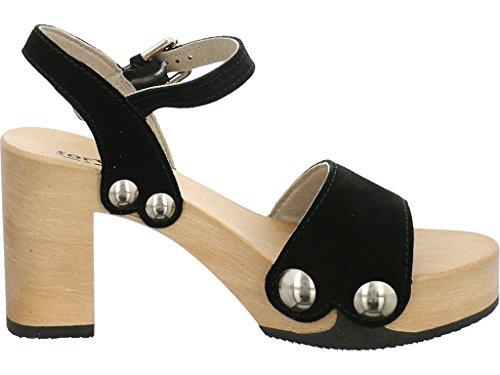 Softclox Sandalette mit Holzboden Schwarz (Hazelnut) 88EHM