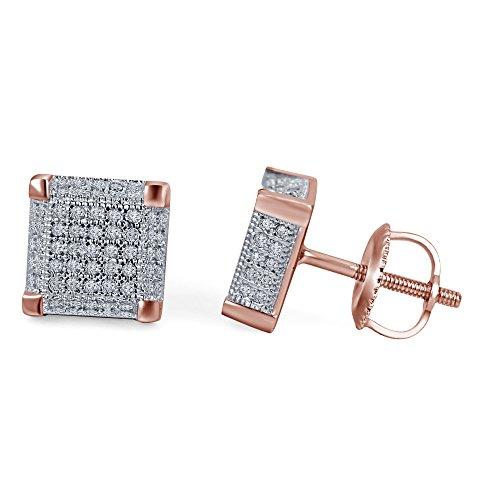 lilu Bijoux Femme en Argent Sterling 925massif Blanc Diamant Véritable Bloc cube carré boucle d'oreilles Clous d'Oreilles à vis 14k Rose Gold Plated