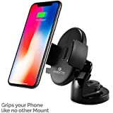 Amkette iGrip Easy View One Touch Dashboard and Windshield Car Mount for Mobile Phones, with Premium Materials, Compact Size and Super Sticky Suction (Black)