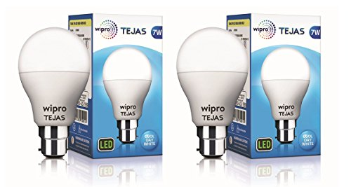 Wipro Tejas Base B22 7-Watt LED Bulb (Pack of 2, Cool Day Light)