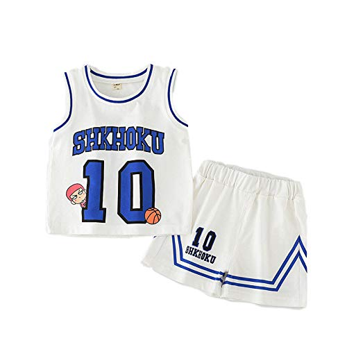 BO LU Kid Boy Basketball Jersey 2-teiliges Trägershirt Shorts Set Kleidung-Sommer Uniform,White-XS
