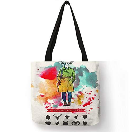 MMKONG Personalisierte Damen Mädchen Handtasche Aquarell Gemalt Bunte Tier Gesicht Charakter Print Einkaufstasche Kreative Premium Handgemachte Sac-008