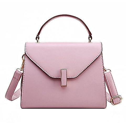 Damen PU Leder Handtasche Normallack Umhängetasche Mini Schultertasche Square Messenger Bag (Rosa)