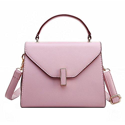 Damen PU Leder Handtasche Normallack Umhängetasche Mini Schultertasche Square Messenger Bag (Rosa) (Schultertasche Square)