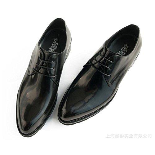 Uomini Scarpe Di Cuoio Pelle Verniciata Punta Pizzo Moda Scarpe Da Uomo Estate Traspirante Scarpe Da Lavoro Black