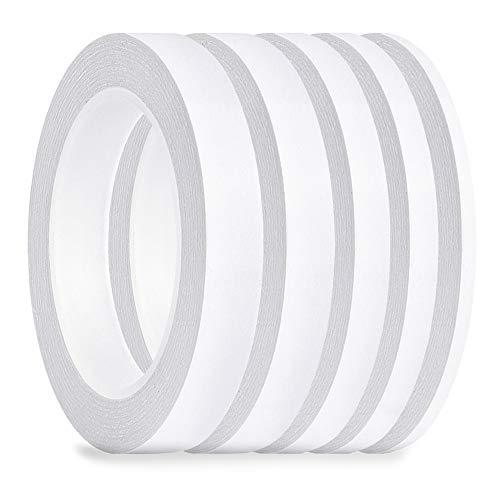 FEPITO 5 Pack Doppelseitiges Klebeband Mehrzweck Starkes Klebeband für Büro / Handwerk / Nähen, 25m Jede Rolle (Breite: 6mm / 9mm / 12mm / 15mm / 18mm)