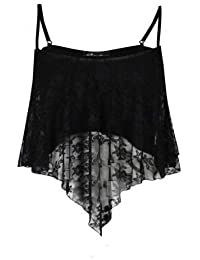 Baleza Womens Ladies Sexy Swing Lace Dip Handkercheif Hanky Hem Cami Vest Crop Top-£5.99