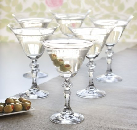Set of 6 Vintage Style Martini Clear Glass Cocktail Glasses 170ml