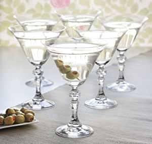 Set of 6 Vintage Style Martini Clear Glass Cocktail Glasses 170ml by Martini Prestige