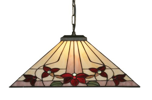 Oaks Lighting OT3589/18P Camillo Tiffany - Lámpara de techo de cristal con...