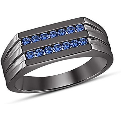 Vorra Fashion Dazzling taglio rotondo blu zaffiro argento 925placcato rodio nero anello di fidanzamento - 5 Row Band Ring