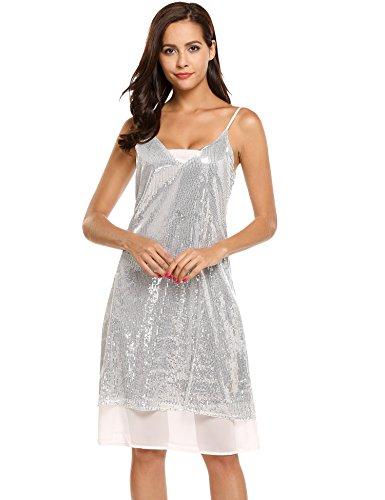 Meaneor Damen Trägerkleid mit Pailletten Shimmer Glam Verziert Sparkle Paillettenkleid Cocktailkleid Partykleid (L, Silber) - 3
