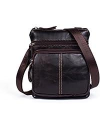 f802a30b04de5 ZXH Leder Herren Tasche Vertikalen Abschnitt Leder Männer Einzigen Schulter  Messenger Tasche Große Kapazität Reißverschluss…
