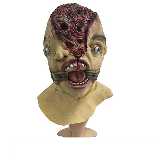 FENGFENGGUO Fengengguo Horror-Maske, Grimace-Gesicht, Zombie-Maske, Halloween, Terror Teufelsmaske Vampir Haunted House Dress Up Latex Kopfbedeckung, Film-Requisiten, Make-up, Tanzen