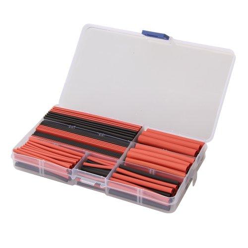 Hrph 150pcs Combinaison de Tube Thermorétractable Couleurs Noir et Rouge Gaine Thermorétractable