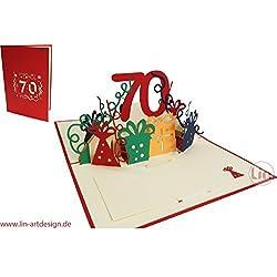 LIN-POP UP Grußkarten zum 80. Geburtag, Geburtstagskarten Glückwunschkarten Grußkarten Geburtstag