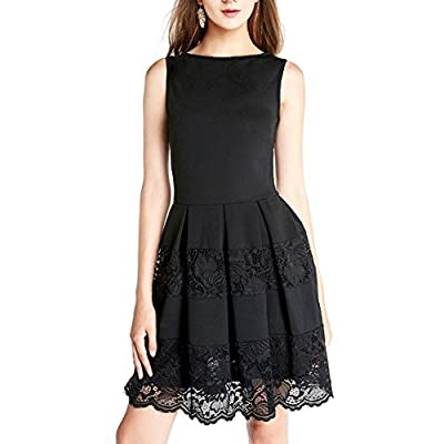 Dressystar Women Sleeveless Cocktail Party Dress Floral Lace Skirt See-through