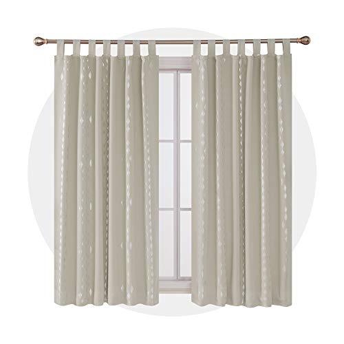 Deconovo Thermovorhang Blickdicht Verdunkelungsvorhang mit Muster Schlaufen Silberne Rauten 175x140 cm Beige 2er Set