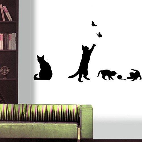 Romote del Juego del Gato Etiqueta de la Pared de Las Mariposas Pegatinas Decoración Adhesivos para Paredes murales de Vinilo removible Etiqueta/Muro