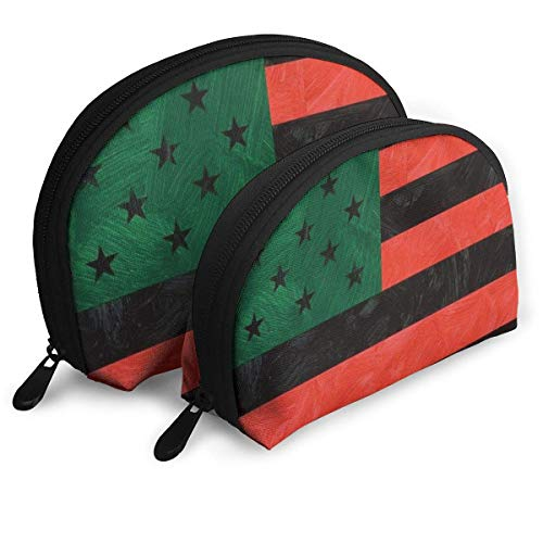 African American Flag Portable Reise-Kosmetiktaschen Organizer Set of 2 Women Teens Girls (Lip Gloss African American)