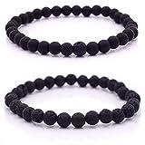 Armband Männer mit Perlen, Herren Armband, Perlenarmband Unisex in verschiedenen Farben (Schwarz - Schwarz)
