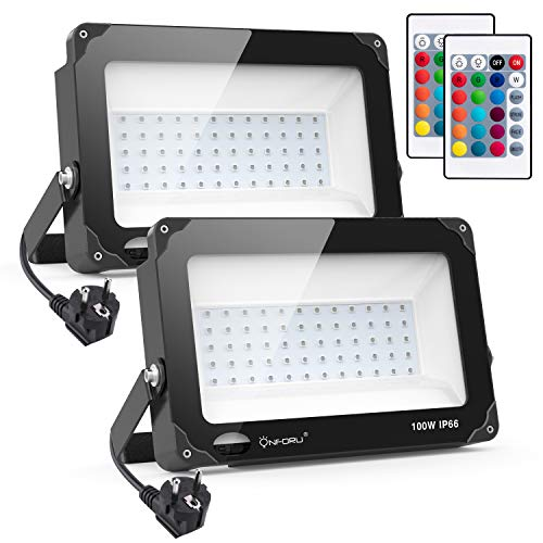 Onforu 2 Farette LED RGB 100W Proiettore per esterni a LED,IP66 impermeabile, 4 modalità 16 colori modificati da telecomando senza fili lampada spot multicolore, illuminazione Ambience per feste