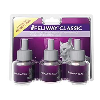 FELIWAY Classic - Anti-Stress pour Chat - Pack de 3 Recharges - 3 x 48 ML