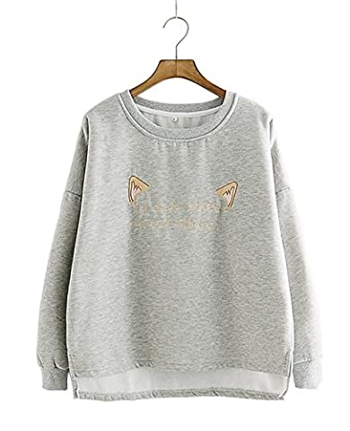 Women's Fashion Long Sleeve Causal Sweatshirt Cat Ears Letter Pullover Tops Without Velvet