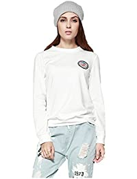 SODIAL(R) Women New Spring Autumn Streetwear Sweatshirts Lovely Pineapple Sequined Tops Pullover Casual Long Sleeve T Shirt(White,M/US-4/UK-8)