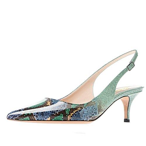 Lutalica Frauen Kitten Heel Spitze Patent Slingback Kleid Pumps Schuhe für Party Patent Multi-Grün Größe 39 EU -