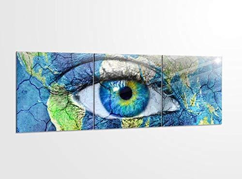 Acrylglasbilder 3 Teilig 150x50cm Auge Welt Karte Erwärmung Weltkarte Acrylbild Bilder Acrylglas Wand Bild Kunstdruck 14?5336, Acrylglas Größe 6:BxH Gesamt 150cmx50cm