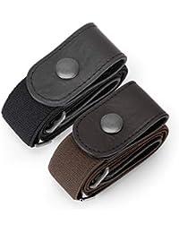 JasGood 2 Pack Schnallenfrei Elastischer Gürtel für Damen oder Herren, Ohne Schnalle Keine Ausbuchtung Unsichtbare Gürtel