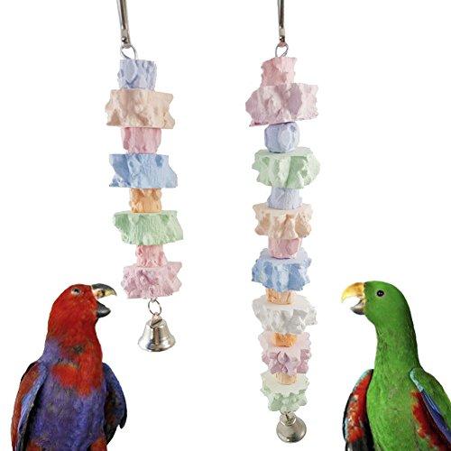 Kuizhiren1 Kauspielzeug für kleine Tiere, zum Kauen, Spielzeug für Vögel, Papageien, Haustiere, bunte Kauzähne, Schleifsteine, hängendes Spielzeug - zufällige Farbe S -