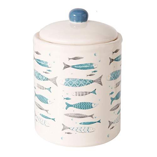 Keksdose maritim mit Fisch Motiv H18cm D13cm türkis/beige Deckelknopf blau ()