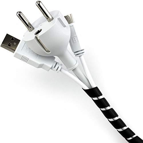 Purovi® raccogli cavi spiralato nero ideale per raggruppare cavi elettrici | lunghezza 10 m, diametro da 6 mm a 60 mm | tubo a spirale per mettere in ordine cavi pc, tv, stereo, console giochi