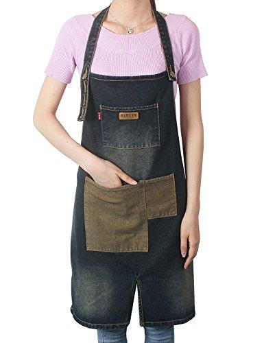 vantoo Unisex Distressed verstellbar Küche Denim Schürze mit Taschen für Damen und Herren, Navy Blau (Braves Binden)