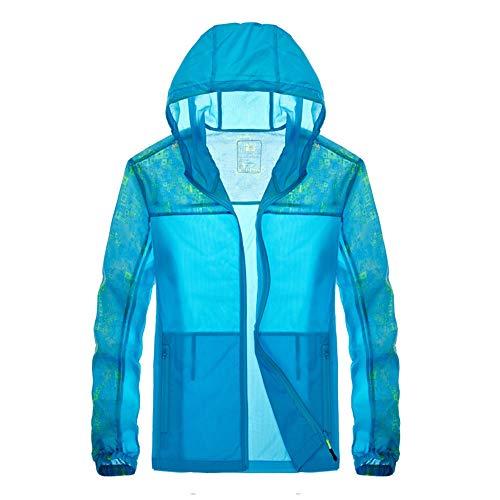 EP-Anti Mosquito Sonnenschutz-Klimaanlagen-Hemd im Freien, ultradünne atmungsaktive elastische Isolierung Mode gedruckt Windjacke, geeignet für Männer und Frauen,Blue,XXXXL