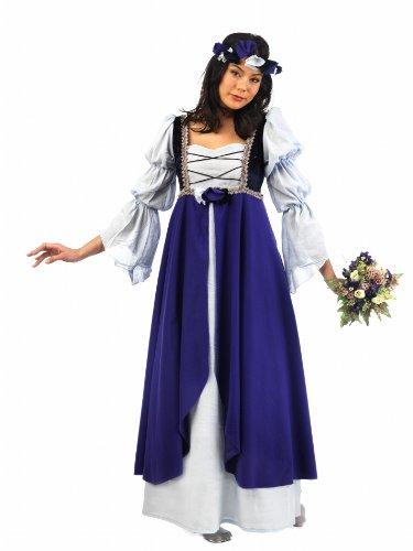 a MA579 XL - Mittelalterliche Malena Kostüm, Größe XL, blau/aubergine/weiß (Damen Sport Kostüme)