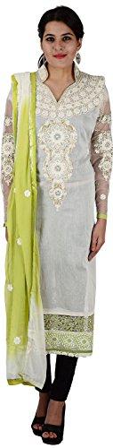 Raj Nandini Suits & Sarees Women's Chanderi Silk Semi Stitched Salwar Suit Set(RajNandini04 _ P