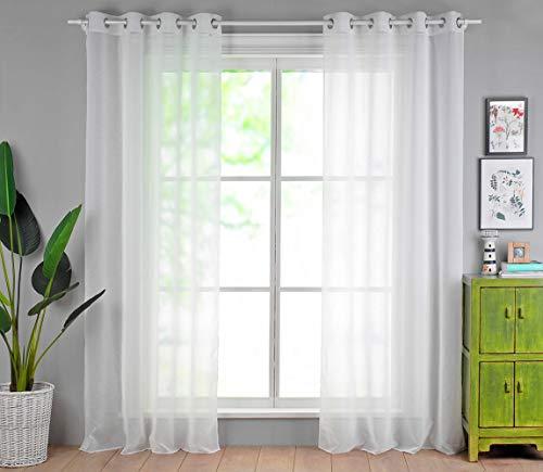 Singinglory Lot de 2 Rideaux Voilages Blanc en Effet Lin, Panneau Voile à Oeillets de Fenêtre avec Embrasse à Rideau 140x245cm (Blanc)