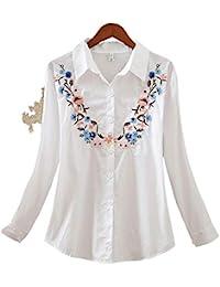 RBDSE Camisa Manga Larga de Las Mujeres Camisa de Moda de Gran tamaño Flores Flojas Ocasionales Bordado Blusa de Las Mujeres…