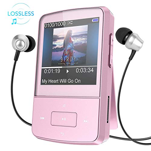AGPTEK Mini Clip 8GB MP3 Player mit Silikon Hülle Tragbare 24 Stunden Wiedergabe Musik Player mit FM, G05, Rosegold