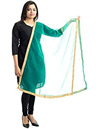 Lodestone Women's Net Dupatta With Lace Work (Sea Green)